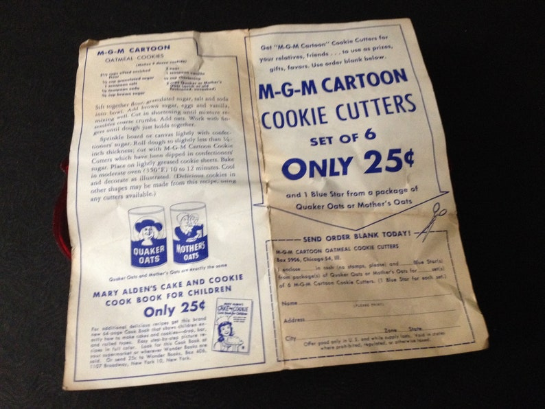 MGM Cartoon Cookie Cutters 1956 Red Plastic