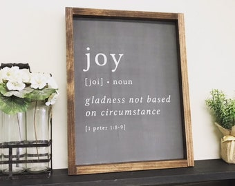 Superieur Joy Definition Sign/ Positive Signs/ Office Signs/ Family Room/ Living  Room/ Bathroom Decor/ Shelf Decor