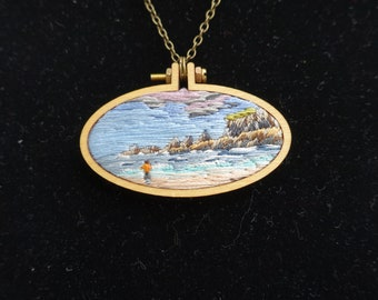Hand embroidered pendant necklace. An embroidery of a Cornish cove. One of a kind.