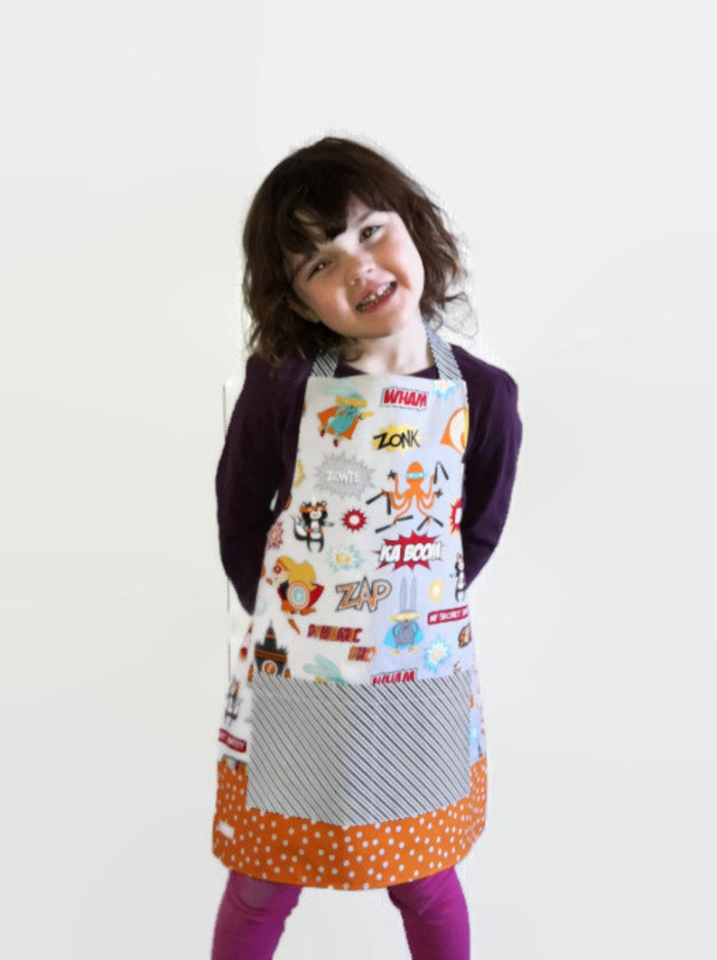 Kids Reversible Apron Birthday Boy Apron Superhero Apron Unique Kids Gift Nautical Apron Cooking with Kids Boy/'s Apron With Pockets