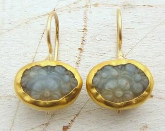 Carved Amazonite Gold Earrings - 24 Karat Gold Earrings - Fine Gold & Amazonite Earrings -  Bridal Gold Earrings