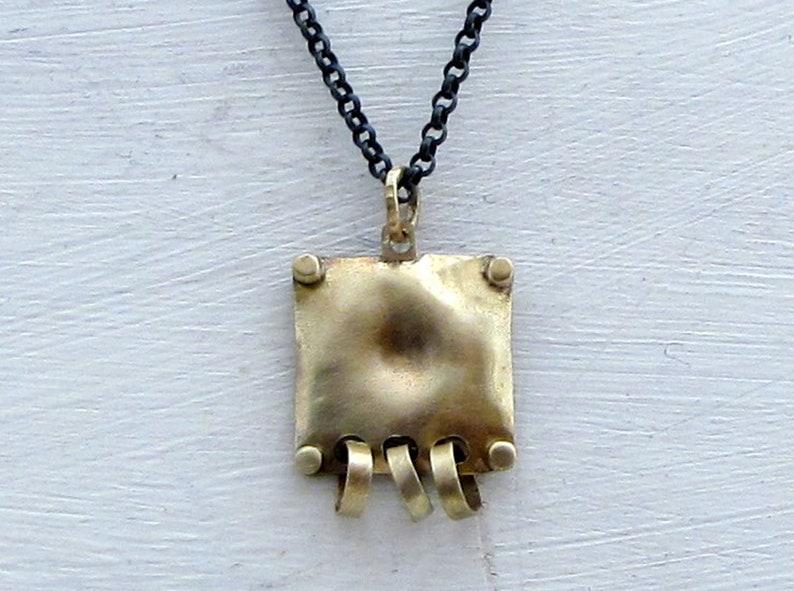 Geometric Pendant Square 14k Gold /& Silver Necklace Solid 14k Gold Pendant