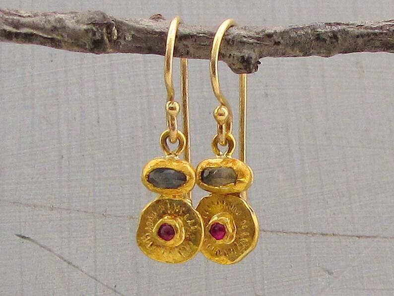 79151a54b2717 24k Gold Earrings for Women / Sapphire and Ruby Dangle Earrings