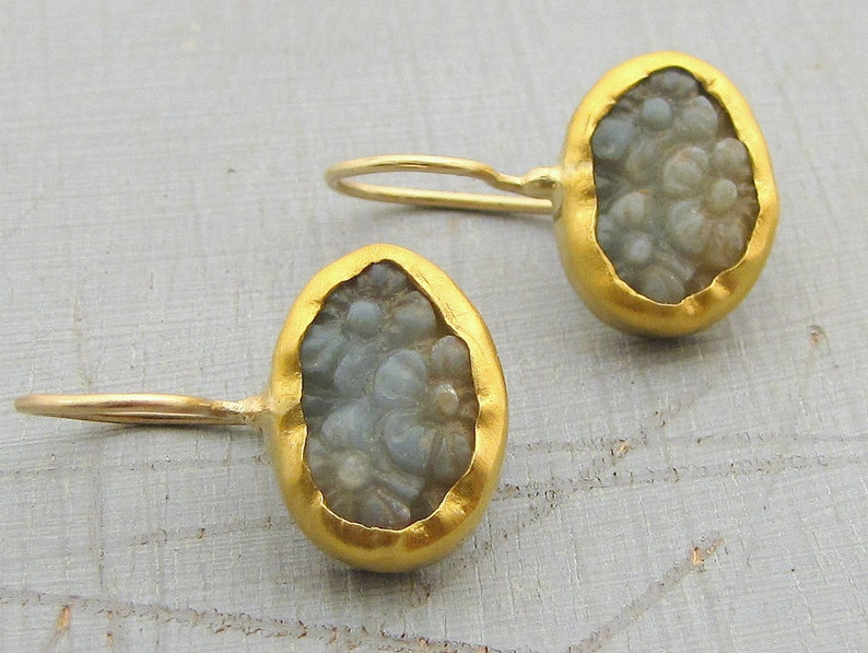 4c8f395736c34 24 Karat Gold Earrings / Carved Amazonite Gold Earrings