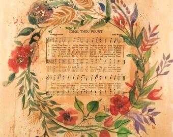 Come Thou Fount Original Watercolor Vintage Hymn Art PRINT or CANVAS