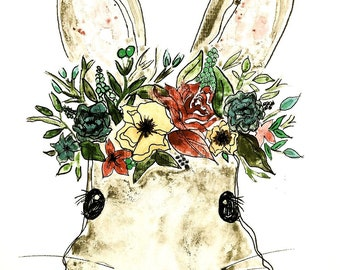 Bunny Girl Floral Wreath Original Watercolor PRINT
