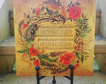 Amazing Grace Vintage Hymn Watercolor Wood original art
