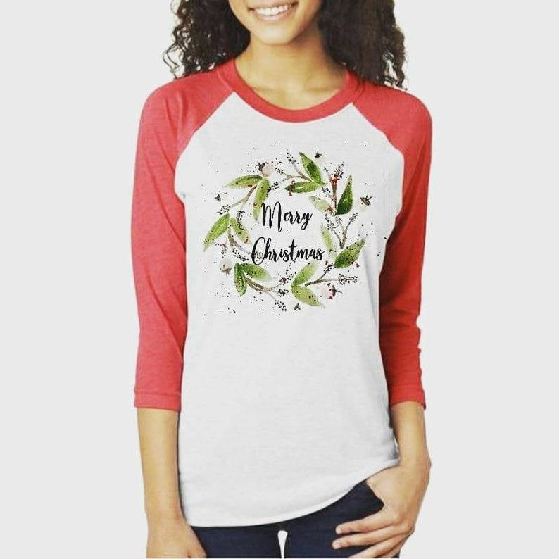 b01b0dc4569 Merry Christmas Watercolor Floral Wreath Raglan Tee Shirt