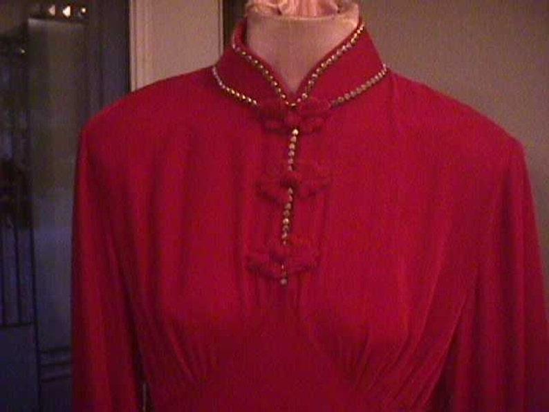 brass heart design trim SALE--Vintage Red Velvet Holiday Dress sequins Mandarin Collar beads