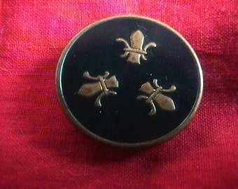 Vintage Dark Blue or Navy Enamel Button, Fleur de Lis on Brass