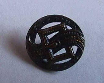 Vintage Brass Button, Buckle, Pierced, Very Detailed