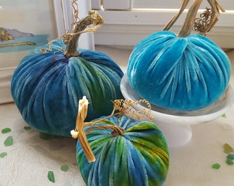3 Silk Velvet Pumpkins with real Pumpkins Stems and 7 Silk Velvet Acorns with real Acorn Caps - #1726