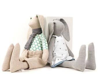 Handmade bunny, Baby shower gift, Hare doll, Stuffed animal, Decorative doll, Rabbit doll, Dolls set for kids, Set of 2 dolls, Twins gift