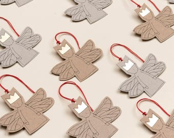 Christmas deco, Paper angel, 10 Gift tags, Holiday decoration, Tree ornaments, Angelic décor, Stocking stuffer,Rusty christmas,Eco christmas