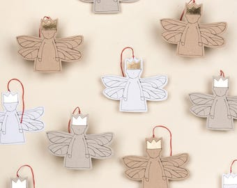 Paper angel ornament Xmas Angel Set of 5 Paper doll Christmas Décor Tree ornament Paper fairy Hanging decoration Gold foil Sparkle Ornament