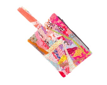 Crazy patchwork, Pencil case, Eco gift, Pencil case, Zipper pouch, Zero waste gift, Handmade gift,Kids pouch,Stocking stuffer, Textile pouch