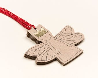 Gift tags, Tree ornament, Paper angel, Christmas decoration, Angelic décor, Rusty christmas, Eco christmas, Paper doll, Set of 5, Decor doll