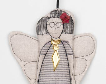 Christmas Doorhanger fabric ornamets doll ornaments Angel ornament  Fairy doll Hanging decorations Guardian angel Linen doll Modern Xmas