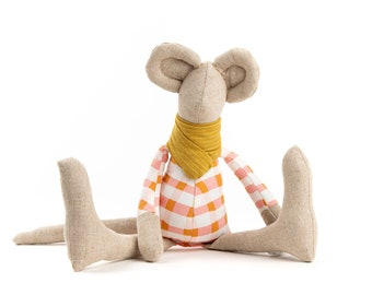 Modern nursery décor, Handmade mouse doll, Baby shower gift, Fabric decor doll, Eco toy