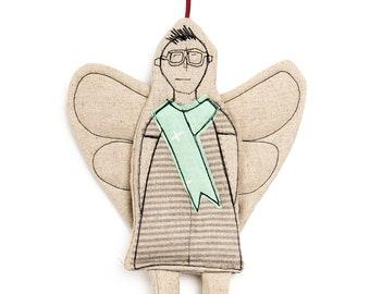 Gender free gift, Linen doll, Modern christmas, Handmade ornament, Home decor doll, Angel doll, Fairy doll, Non binary gift, Hipster doll