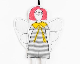 Christmas decoration, Redhead doll, Handmade ornament, Home decor doll, Angel doll, Fairy doll,Hanging angel,Angel wall décor,Guardian Angel