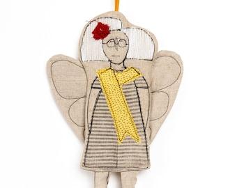 Christmas deco, Angel doll, Fairy doll, Linen doll, Handmade ornament, Angelic décor, Hanging angel, Tree ornament,Tooth Fairy doll,Art doll