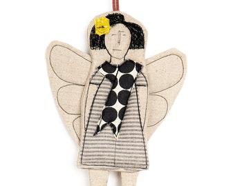 Handmade gift, Home decor doll, Angel doll, Fairy doll, Hanging angel, Tree ornaments, Modern doll, Guardian Angel, Textile doll, Cloth doll