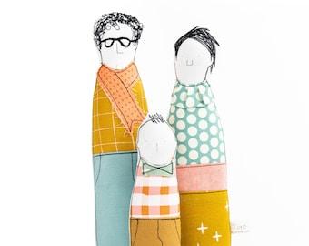 Family Portrait, Unisex Gift doll, Family dolls, Fabric doll, Gift for mom, Handmade gift, Soft sculpture doll, Handmade portrait