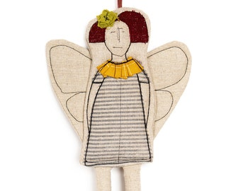 Tree ornament, Modern doll, Guardian angel, Textile doll, Cloth doll, Home decor doll, Angel doll, Fairy doll, Hanging angel,Fabric ornament
