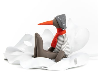 Handmade stuffed animal, Plush bird, Textile doll, Unisex gift