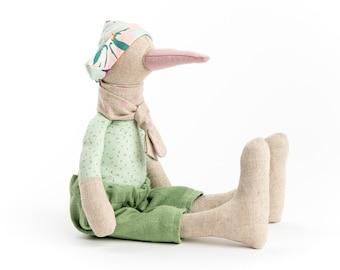 Nursery decor, Fabric doll,  Handmade bird, Doll toy, Art doll,  Stuffed animal