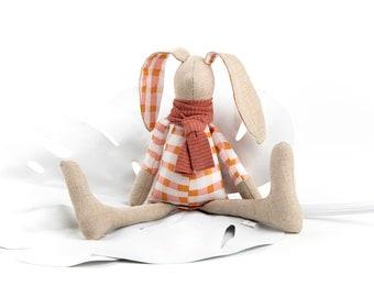 Bunny doll, Linen Stuffed animal, Nursery decor, Boy or girl gift, Heirloom doll