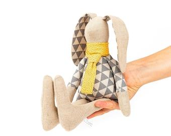 Rabbit doll, Plush toy doll, Handmade bunny, Fabric doll, Baby room décor, Handmade gift, Stuffed animal, Soft sculpture doll, Rabbit plush