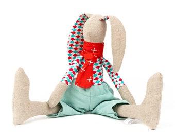 Modern nursery décor, Rabbit doll, Animal doll, Handmade bunny, Doll toy, Stuffed doll, Decorative doll, Newborns gift idea, Rag doll, Hare
