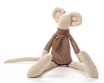 Art doll, Stuffed animal, Mouse doll, Fabric doll, Ecofriendly gift, Cloth doll, Handmade animal doll, Stuffed mouse, Gender neutral gift
