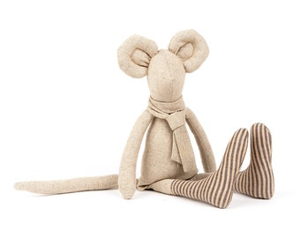 Mouse doll, Eco friendly gift, Soft toys, Animal softie, Baby room décor, Plush doll, Baby unique gift, Textile doll, Soft sculpture doll
