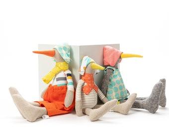 Decorative doll , Bird doll, Handmade bird , Dolls set for kids, Parents & child, Set of 3 dolls, Baby shower gift, Duck doll, Bird toy doll