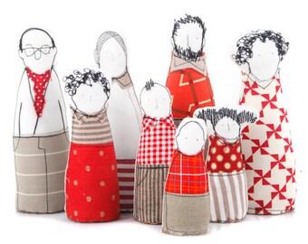 Dollhouse dolls, Family Portrait, Handmade Miniature, 12th scale dolls, Dollhouse family, Dollhouse toys, Handmade fabric doll, 8 Characters
