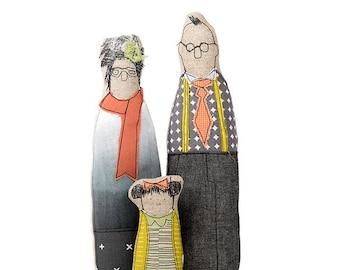 Family gift, Family portrait, Decorative doll, Handmade dolls, Parents & girl,  Personal family, Portrait dolls, Couple gift, Family Art