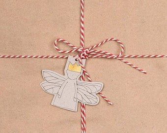 Tree decoration, Modern Christmas, Tree ornament, Paper angel, 10 Gift tag, Holiday decoration,Angelic décor, Stocking stuffer,Eco christmas