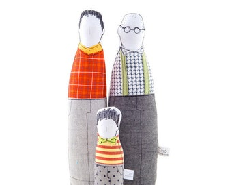 Family portrait, Gay wedding, Same sex gift, Gay father, Lgbt pride, Gay family, Couple gift, Fabric doll, Handmade doll, Decorative doll