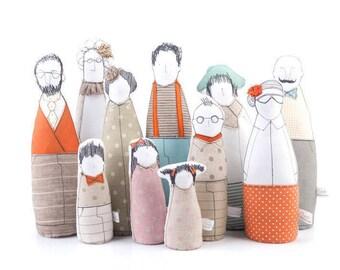 Family portrait doll , dolls set , Handmade decor doll , Custom Family Portrait , likeness fabric dolls , Personal Portrait , family Selfie