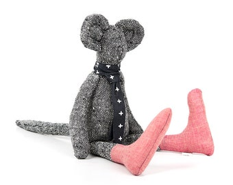Stuffed mouse doll Pure woven silk doll Black doll Textile doll Fabric doll Interior doll Baby first doll Modern nursery Handmade doll