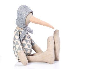 Linen doll, SMALL rag doll , baby plush , chick duck , Handmade doll , Stuffed toy , Cloth Doll , Stuffed doll , Nursery decor , first doll
