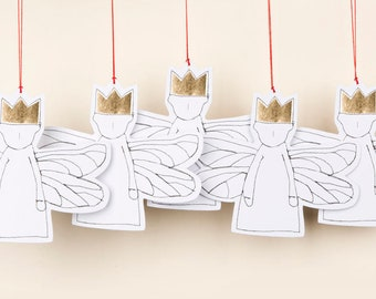 Paper doll, Paper angel, 5 Gift tags, Christmas decoration, Angelic décor, Rusty christmas, Eco christmas, Tree ornaments, Modern christmas