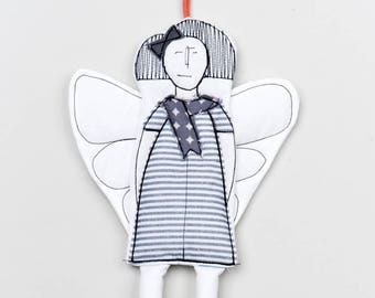 Fireplace decoration Fairy ornament Christmas Doorhanger Fabric ornamets Angel ornament Hanging decorations Guardian angel Modern Xmas doll