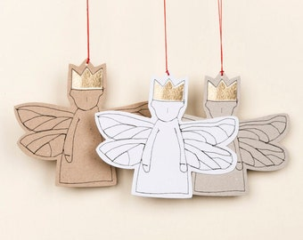Tree ornament, Modern Christmas, Paper angel, 10 Gift tags, Christmas decoration, Stocking stuffer,Eco christmas, Angelic décor, Rusty décor