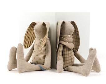 Decorative doll, Rabbit doll, Handmade bunny, Dolls set for kids, Set of 2 dolls, Baby shower gift, Stuffed animal, Twins gift, Small doll
