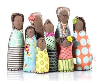 Heirloom gift, Dollhouse dolls, Black doll, Family Portrait, Handmade Miniature, 12th scale, Dollhouse family, Dollhouse Toys, Handmade doll
