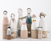 Family  portrait ooak , art doll - grandparents, parents and childrens dressed in natural earth tones , stripes plaid and polka dots